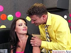 Superb brunette office babe in pantyhose Kayla West suck and fuck a large schlong