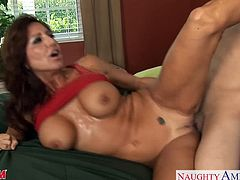 Charming MILF Tara Holiday invited her lover for some morning sex as she want to give him a smile before going to the office. Love to see that wet cunt goes pumping on that big cock.