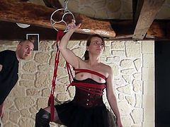Hogtied and fist for serf sandy