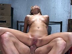 This cute blonde chick loves to suck huge cocks with her horny mouth. She made it hard as a rock and took it into her cunt and then into her tight asshole.