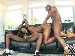 Tay Dash loves getting tossed and turned with one cock deep in her ass and another in her throat.