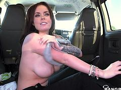 Roxii has been just picked up and feels very thrilled to see the bang bus's interior. The atmosphere gets easily hotter, as the tattooed brunette with long hair gets rid of her clothes. The exciting part begins with her sucking a guy's cock. Watch the attractive slutty babe getting banged hard from behind.
