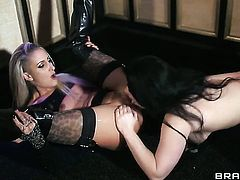 Flirty wench Angel Long and Lucia Love do lewd things in lesbian action