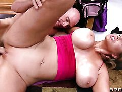 Athena Pleasures with massive jugs makes her sex dreams a reality with hard dicked guy Johnny Sins