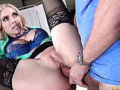 Christie Stevens lets Mick Blue insert his fuck stick in her booty before she gives deep throat job