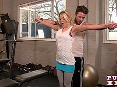 Busty blonde Sienna gets a proper pounding from her horny trainer, at the gym.