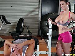 Wonder how our babe keeps herself in such a good shape? Well now, Katrina does a little more in the gym except working out, she has a very special training program, that involves a lot of cock sucking and riding. She's not only a personal trainer, she's a fucking slut too and knows how to squeeze a guy.
