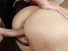 Brandi Love with big breasts satisfies her sexual needs with Keiran Lees dick in her mouth