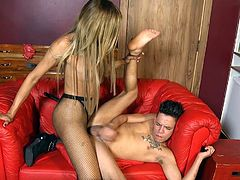 tranny domme makes him suck cock