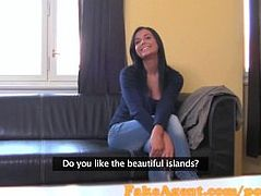 FakeAgen Brunette waitress will do anything to become a fashion model