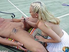 Eat Sleep Porn brings you a hell of a free porn video where you can see how the vicious and intense blonde slut Katie Summers gets banged hard and creamed on a tennis court.