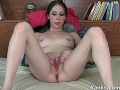 Yanks brings you very intense free porn video where you can see how this sexy brunette belle fingers her pussy for you while assuming very naughty positions.