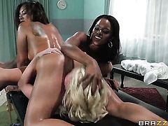 Kaylani Lei and Madison Scott kill time playing with each others love hole
