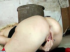 Blonde Anita Hengher stripping and masturbating