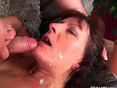 Amazing compilation of amateur moms and grannies having a rough and kinky sex and begging for a huge amount of jizz on their faces, mouth, tits and others.