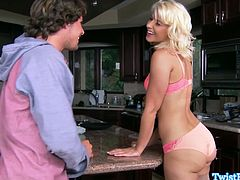 Gorgeous blonde Anikka Albrite teasing this lucky guy as she shows off her pink lingerie and her sexy body and he took the opportunity to fuck her tight hairy pussy.