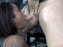 Sexy ebony babe gets banged by black BF and his freaky white buddy tough
