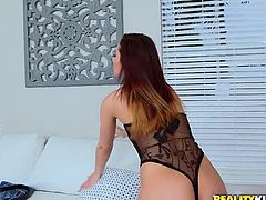 This Latina hottie loves having her pussy licked and eaten out. She slides out of her jean shorts and she's wearing noting but a see through outfit, and she looks so sexy in it. She bends over and her man licks that sweet vagina of hers. Now it's time for her to get fucked.