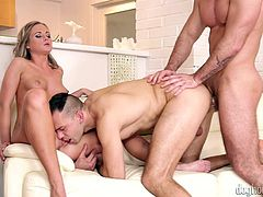 A blonde babe and two guys spend moments of true ecstasy, when playing dirty sexual games together. There are lusty exciting scenes like a crazy blowjob and fervor pussy eating. The horny gay guys get naked and join the slutty blonde-haired babe on the cozy couch. Click to see the hardcore details and enjoy!