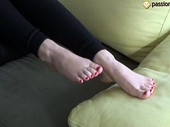 Foot fetish for a sexy brunette chick in high heels