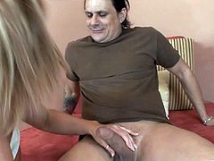 Curvy Cougar with Big Tits and Tattoo gives a Blowjob and gets her Shaved Pussy and Asshole done Justice by Hardcore drilling on Cumshot