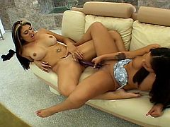 Extreme hardcore Sex-Two brunette lesbians eating and toying the pussy in this video.