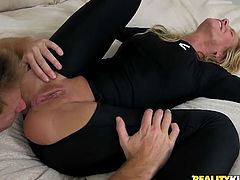 blonde milf with her young lover