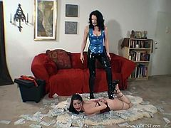 Sexy Slave with Natural Hair is tied up and moans as she gets Tortured as her Hot Ass is Spanked and flocked with notes in BDSM