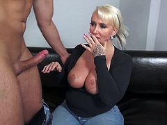 blonde mature slut plays with dick