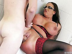 Emma Butt with gigantic melons cant live a day without getting fucked by hard dicked guy Danny D