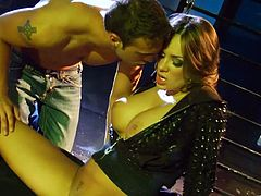 Nika Noire with Fake Tits gets her pussy Licked delivers Blowjob before being screwed Doggystyle and Cum In Her Mouth