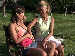 Old mature lesbian toying young pussy