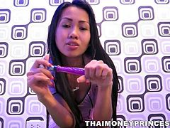 Horny Thai mistress is back in action and this time, this slim slut brought her toy. It's like her hot body is not enough to tease us, so she is doing all those wicked moves with that toy. She talks mean, waves the toy with denial and sucks & licks it, as she would do the same to any cock!