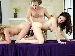 This girl and her mommy are two whores! They wanted to give this guy a wonderful surprise, so they did. He found himself between both of them, naked and ready for some ass to ass action. After the cutie and her mommy warmed up, they went down and dirty, surely something that deserves watching.