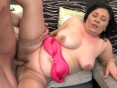 Don't you like when horny mature women get loose in bed? Lusty Petra is about to get pounded hard by a younger partner. The chubby lady with large breasts is hungry for cock. Watch her sucking dick, while her naughty pussy is being fingered. The atmosphere gets hotter when she spreads her legs, enjoy!