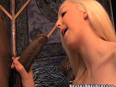 This pansy gets kicked square in the balls by his mean blonde girlfriend, and then she makes him watch, as she sucks off a big black cock right in front of him. She deepthroats that big dick and he sits there like a humiliated loser.