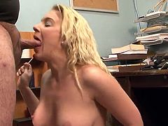 Blonde Gives Her chief A cocksuck in the Middle Of His Office