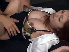 Tied Japanese Office chick has Threesomed inside the Basement