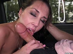 Slutty London Lynn loves to have sex in car, but now she can turn to reality her dream of being fucked in the bang bus. The long brown-haired bitch with small tits gets completely naked and gives in to a horny guy. Watch her sucking cock with a lusty desire. The babe gets excited, when fucked from behind.