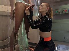 If this hot piece would have known she'd be fucked so hard, she might have hesitated. But no, the blonde-haired slutty lady, wearing a latex kinky outfit, is so eager to have rough sex! Click to watch attractive Mona Wales engaged in exciting deep throat blowjobs, while being awfully banged from behind. Enjoy!
