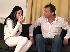 Visit official MMV Films HD's HomepageSmall boobs Lolly feels like fucking this fat dick in rough manners, letting it burst jizz all over her belly in the end