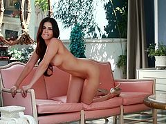 Gorgeous and spunked brunette Sunny Leone takes off lingerie to go solo