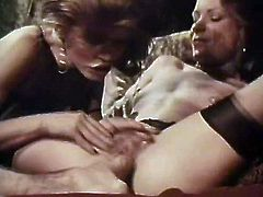 Light and black haired classic nymphos give solid double blowjob