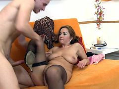 Eager to see a lusty mature lady playing wild in bed in the company of an younger partner? Then click and enjoy the hardcore scenes. The busty bitch wearing stockings adores to ride cock. She's so turned on, that offers an unforgettable blowjob, while her pussy is being fingered with a lusty desire.