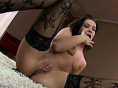 Brunette Lara Amour dreaming about real sex with real man with dildo in her pussy
