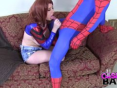 As we all know, Mary Jane Watson is Spiderman´s biggest fan, she can not keep her eyes of him. She´s been dreaming for quite a while about fucking his brain out.