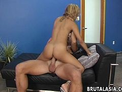 Blonde Asian skank is all over the dick gobbling it up and she is then in a sixty nine getting pussy licked. She loves the sensation so she gets on the dick to cum hard.