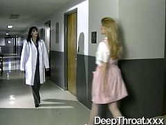 Blonde and brunette nurses wanna please each other's cunts in hospital