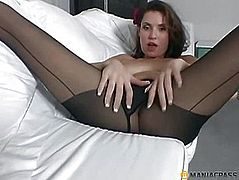 Leggy bitch in pantyhose