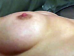Insatiable housewife pleasing her shaved punani on a couch
